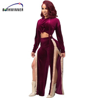 Bothwinner Casual Women Sexy Club Jumpsuits Romper 2 Piece Set Crop Top Long Sleeve Playsuit Bodycon