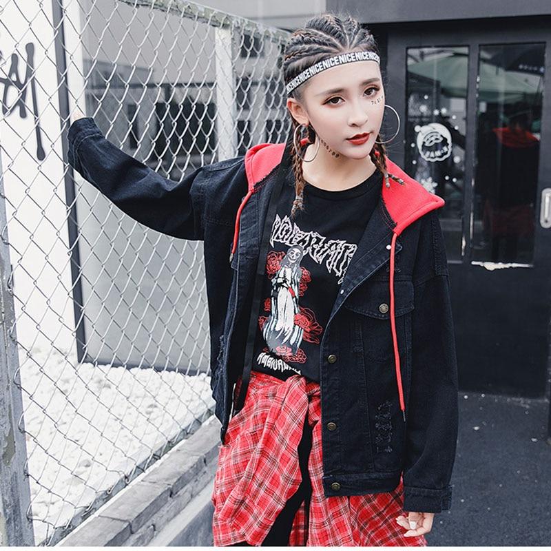 BONU New Letter embroidery Jean Jackets Unisex Loose Denim Jacket Boy Friend Harajuku Oversize Female Hip Hop Basic Coats 2