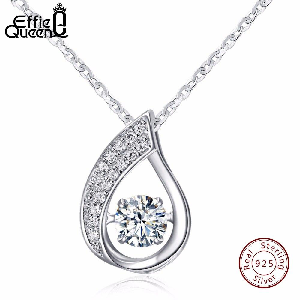 Effie Queen Solid 925 Sterling Silver Women Necklace New Flickering Zircon Design Ladies Pendant Necklaces Jewelry BN41
