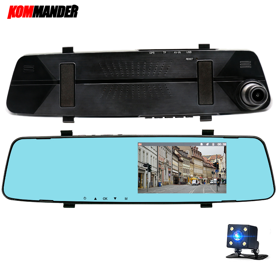Kommander 5 Miroir DVR pour voitures Caméra De Voiture DVR de vision Nocturne Full HD 1080 p Dash Cam Caméra, dashcam