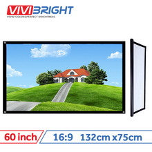 VIVIBRIGHT 16:9 Portable Projector Screen, 60 inch PVC Screen for Home theater, Travel. Support LED Projector DLP proyector