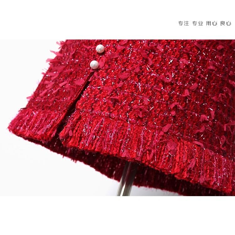 Chica Botones La See Perla Período Chart Thin Y Tweed Nueva De Falda Borla Otoño Mostrar Rojo Primavera Temperamento gpgawZqrP