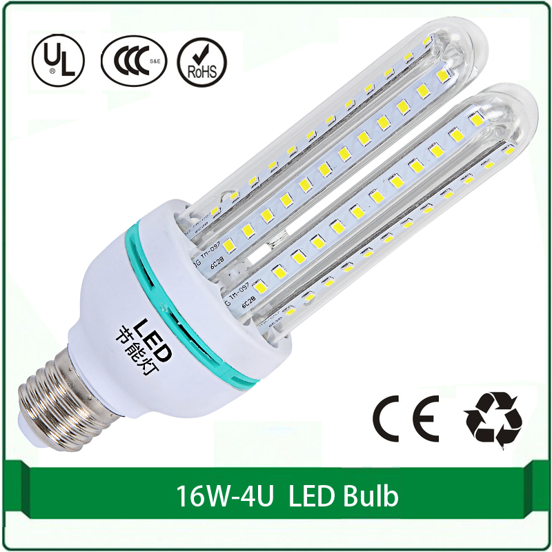16W LED energy saving CFL 4U  free shipping 1 pieces only corn led lamp bulb E27 B22 corn 3200k 6500k led corn bulbs energy efficient 7w e27 3014smd 72led corn bulbs led lamps