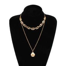 Женское ожерелье с подвеской в виде ракушки из сплава