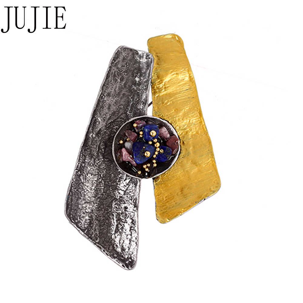 Jujie Vintage Enamel Pin Matel Multicolor Batu Bros untuk Pria 2019 Fashion Geometris Bros Pin Perhiasan Dropshipping