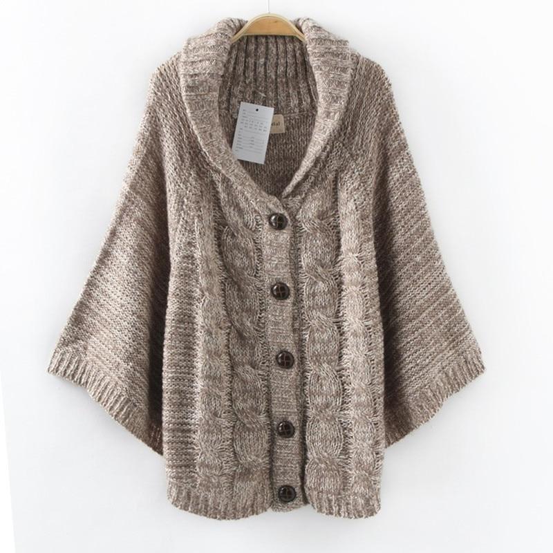 Casual Sweater Plus Size Poncho Cardigan Bat Sleeve Wrap Coats Women Basic Coats Tops Loose Sweater Cardigan,Sueter Mujer C2337