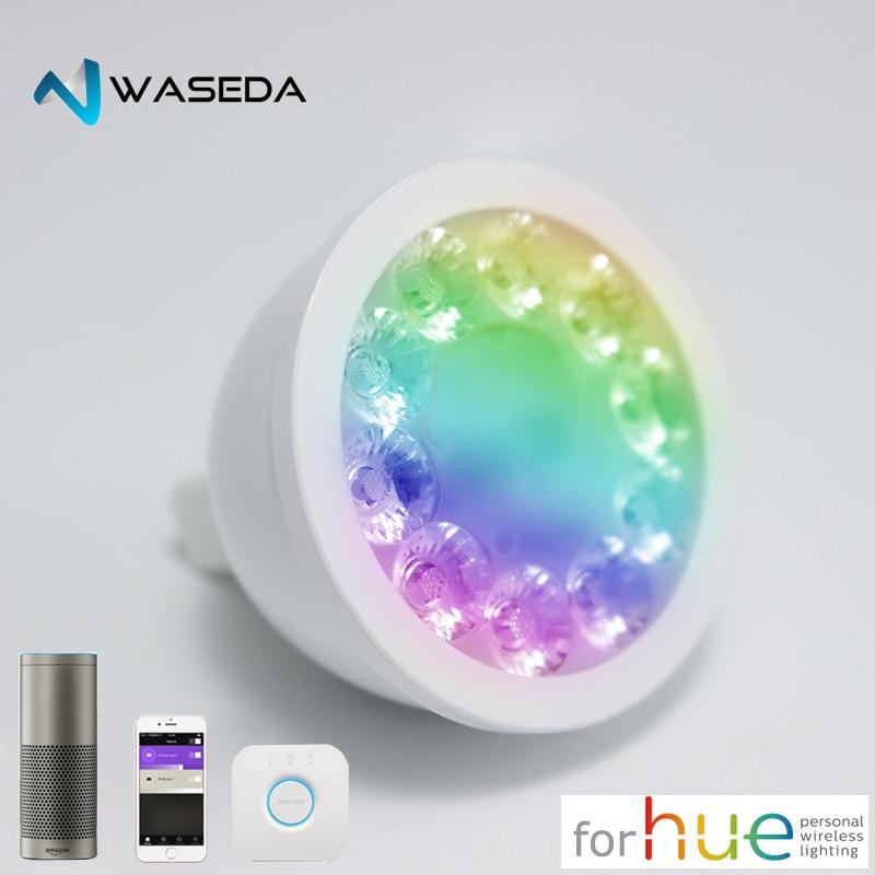 Waseda Zigbee brug LED RGBW GU10 spotlight kleur veranderende zigbee zll lien LED GU10 lampe compatible rencontré Teinte Lightify Echo