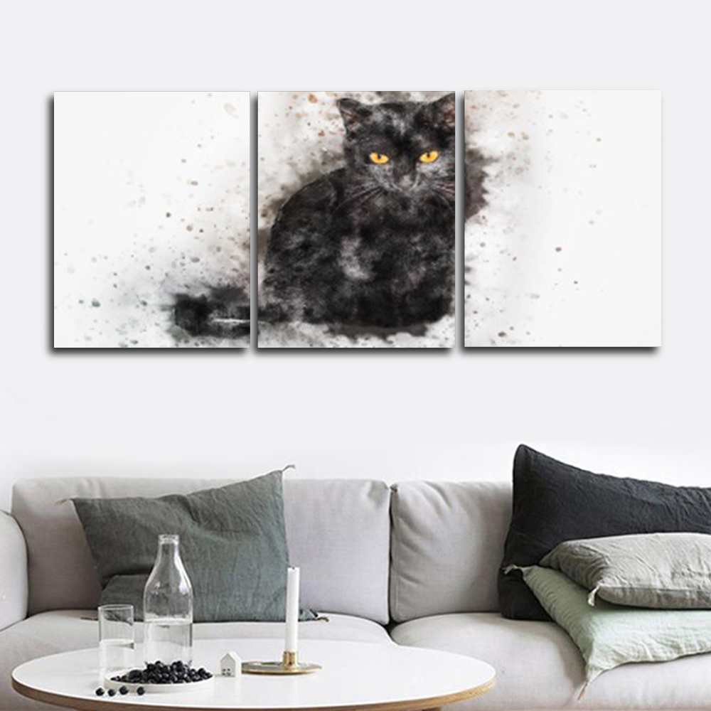Laeacco Canvas Paintings Calligraphy Abstract Nordic 3 Panel Watercolor Cat Posters and Prints Wall Art Home Living Room Decor