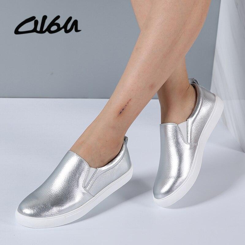 O16u бренд Для женщин Спортивная обувь без шнуровки повседневные туфли на плоской подошве кожаные белой подошвой женская обувь без застежки женские белый черный металлик искусственной Обувь