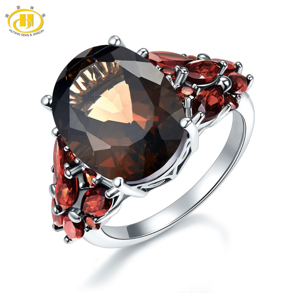 Hutang 11 31ct Natural Smoky Quartz Garnet Wedding Rings 925 Sterling Silver Cocktail Gemstone Ring Women