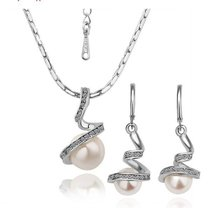 S027 White Imitation Pearl  Gold  Platinum Plated Wedding Jewelry Sets Nickel Free  Rhinestone Austrian  Element Crystal