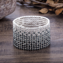 12 Rows Crystal Stretch Bangles Bracelet for Women Black Gra