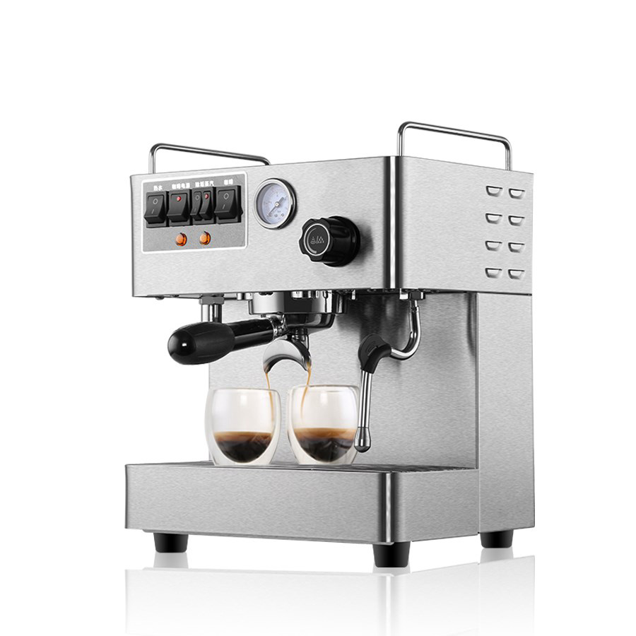 New Small Commercial Steam Espresso Coffee Maker 220V 1.7L Double Boilers Stainless Steel Coffee Machine crm3012 semi automatic espresso coffee machine 3000w 1 7l double boilers commercial coffee maker high pressure steam integrated