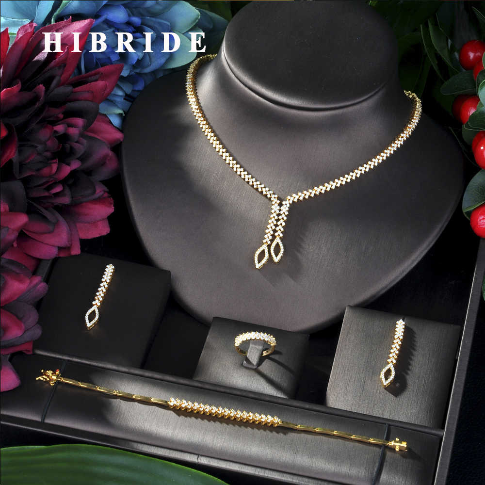 HIBRIDE Shining Brilliant Cubic Zircon 4pcs Bridal Set for Women Fashion Wedding Zircon CZ Dubai Bridal jewelry Set N-06