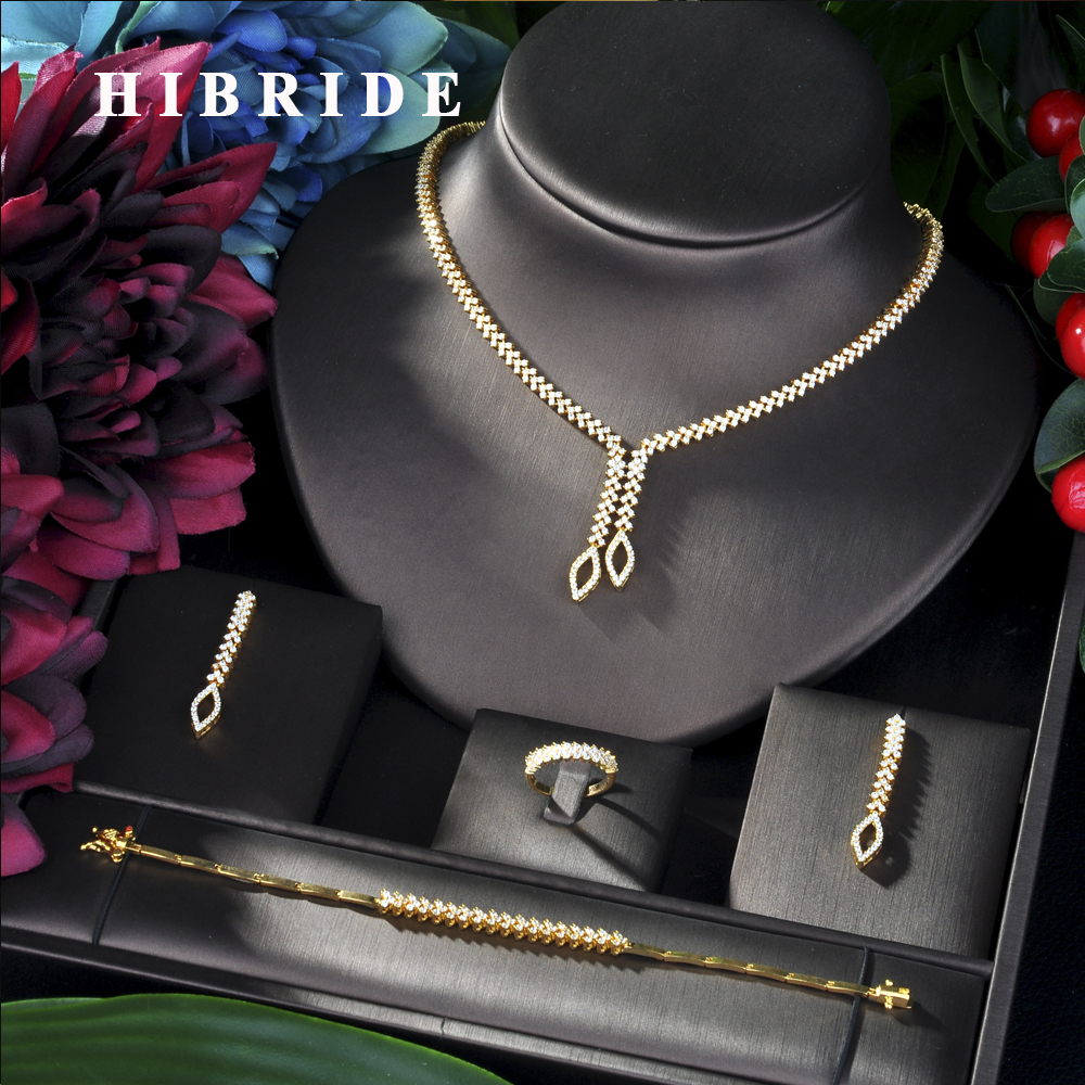 HIBRIDE Shining Brilliant Cubic Zircon 4pcs Bridal Set for Women Fashion Wedding Zircon CZ Dubai Bridal jewelry Set N-06HIBRIDE Shining Brilliant Cubic Zircon 4pcs Bridal Set for Women Fashion Wedding Zircon CZ Dubai Bridal jewelry Set N-06