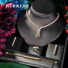 HIBRIDE Shining Brilliant Cubic cyrkon 4 sztuk zestaw dla nowożeńców dla kobiet moda ślub cyrkon CZ dubaj zestaw biżuterii ślubnej N 06