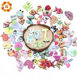 50pc colorido 15mm 2 furos botões de madeira para scrapbooking artesanato diy bebê crianças acessórios de costura botão decoração