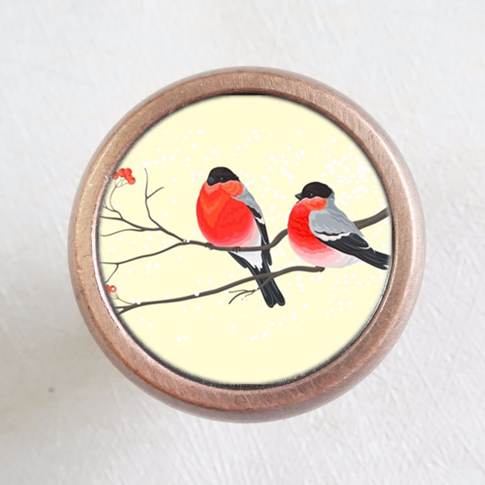 Flower Birds Drawer Knobs Vintage Style Knobs Copper Sliver Bronze Rustic Funiture Animal Door Cabinet Handles Hardware in Cabinet Pulls from Home Improvement