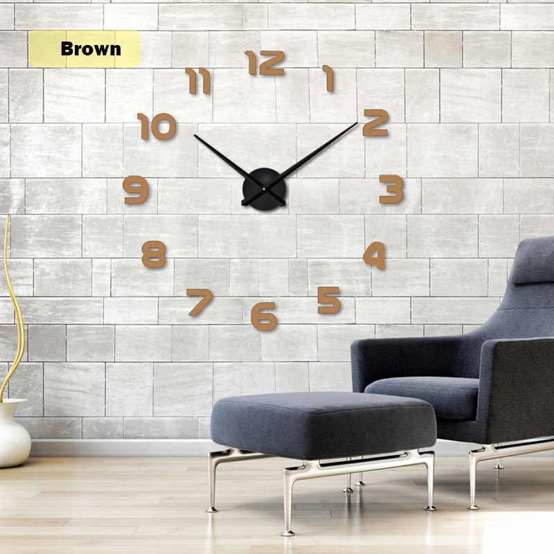 2020 TopSelling Baru Logam Modern 3D DIY Wall Clock Acrylic EVR Logam Besar Cermin Dekorasi Rumah Super Besar Stiker Dinding jam