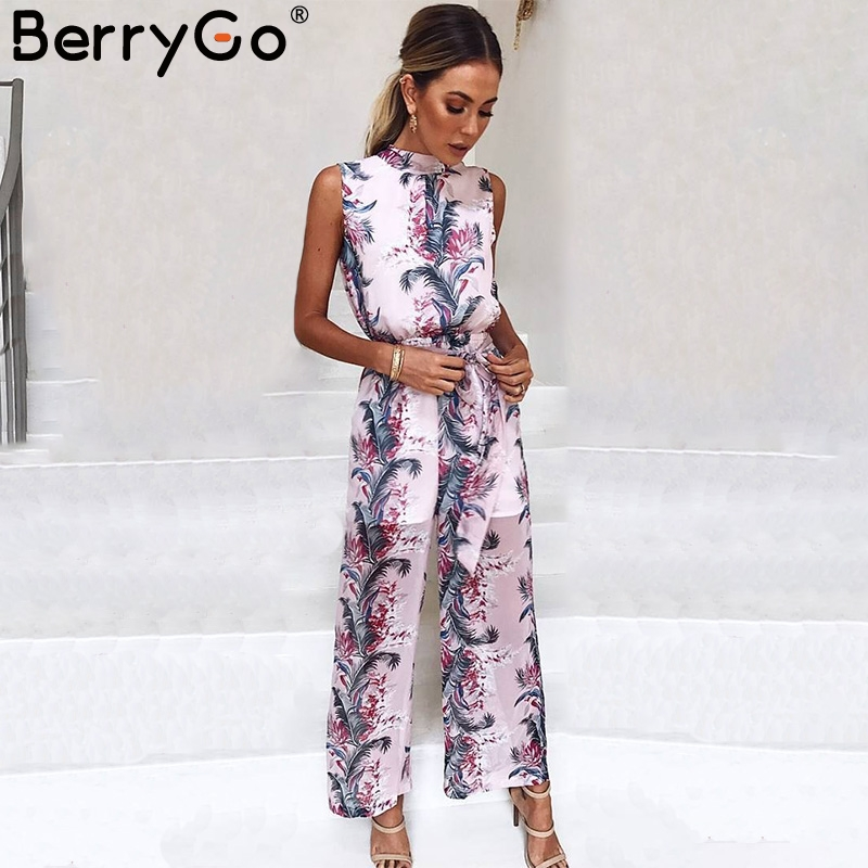 BerryGo Boho Floral Print Sleeveless Long Jumpsuit Women High Waist Backless Loose Casual Overalls 2018 Spring Playsuit Female