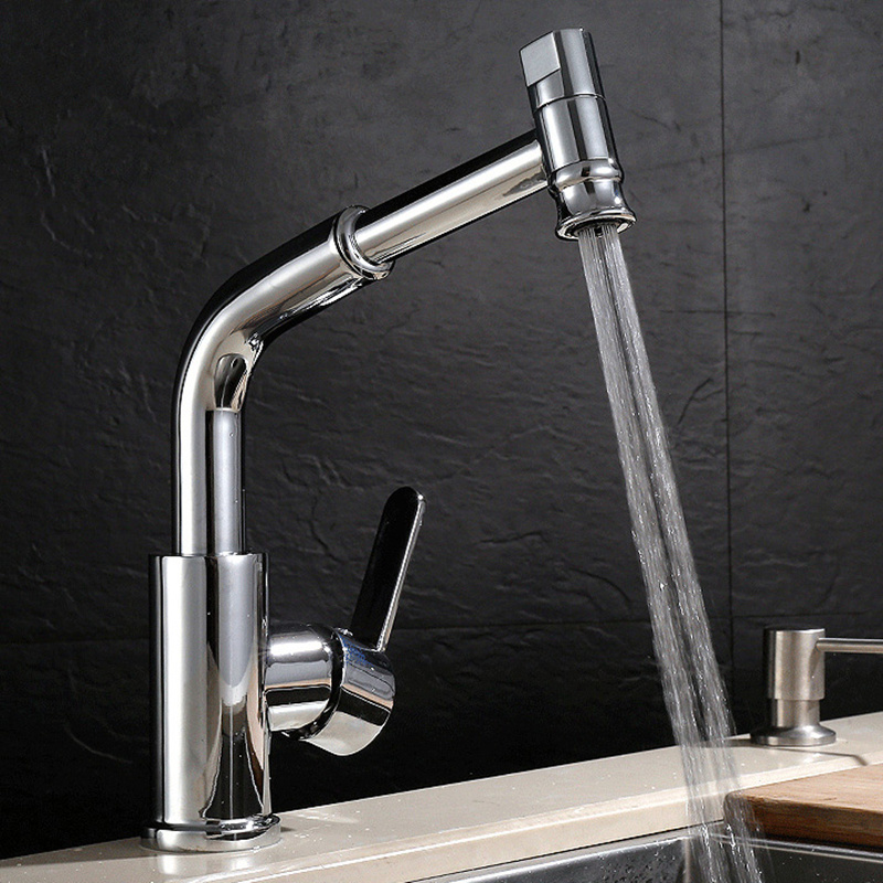 Faucet Mixer Pull Kitchen Tap Pull Out Single Lever Sink Wash Basin Bathroom Faucets Hot and Cold Water black chrome kitchen faucet pull out sink faucets mixer cold and hot kitchen tap single hole water tap torneira
