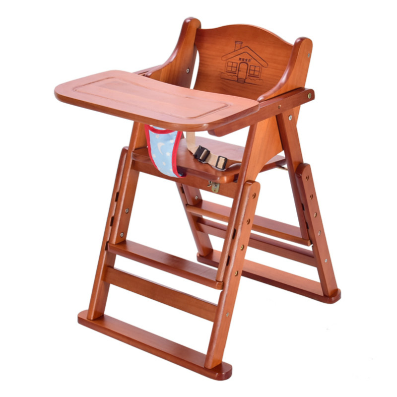 Multifunctional Solid Wood Baby Dining Chair Kids High Height Portable Folding Feeding Chair Rotary Plate Baby Stool 0-6T BB купить недорого в Москве