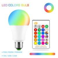 E27 Led 電球 5 ワット 10 ワット 15 ワット AC 110V 220V 230V 240V ランパーダ Led e27 ランプ色変更可能な Rgb RGBW RGBWW 電球メモリ機能