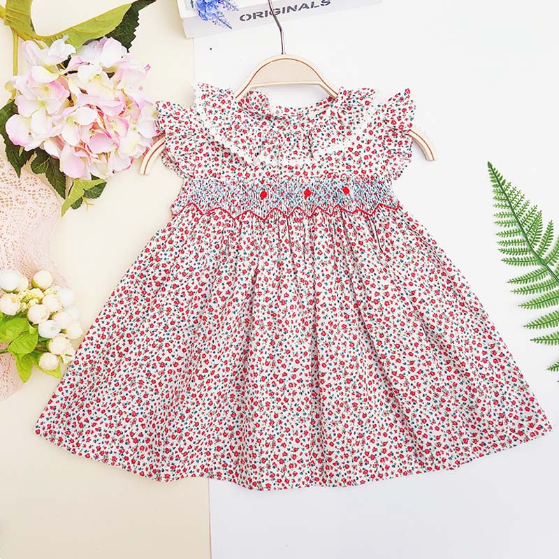 Spring Summer Baby Girl Smocked Vintage Dress Newborn Print Floral Dresses Infant Princess Party Dress For Toddle Girl 1-5Years 貓 帳篷