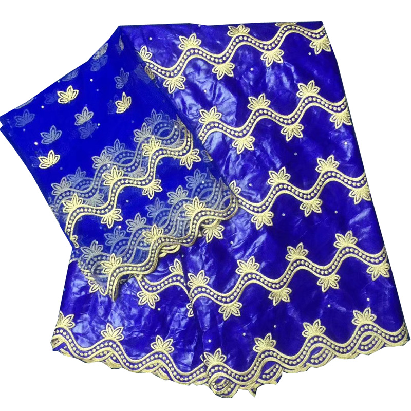 (5+2yards/set ) royal blue African bazin rich fabric with elegant embroidery plus blouse lace set for party dress BLX14(5+2yards/set ) royal blue African bazin rich fabric with elegant embroidery plus blouse lace set for party dress BLX14