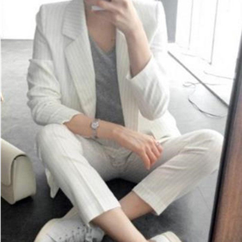 Ol rayé costume nouveau 2 pièces blazer pantalon costumes femmes costumes bureau
