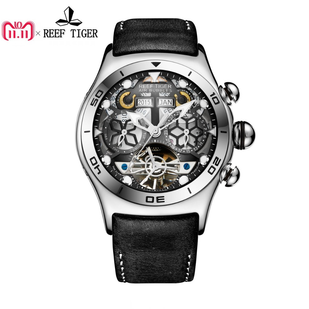 Reef Tiger/RT Mens Sport Watches Automatic Skeleton Watch Steel Waterproof Tourbillon Watch with Date Day reloj hombre RGA703 вьетнамки reef day prints palm real teal