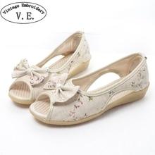 Vintage Embroidery Sandalia Feminina Butterfly Knot Open Peep Toe Slip On Women Sandals Womens Summer White Shoes