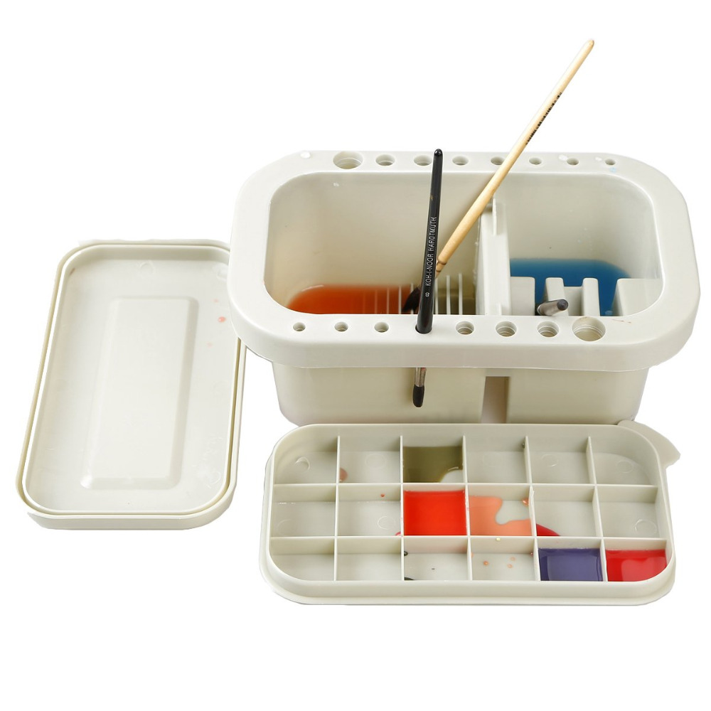 MyLifeUNIT Multifunction Paint Brush Basin with Brush Holder and Palette Watercolor Pen Acrylic oil Brush Wash Pen Bucket