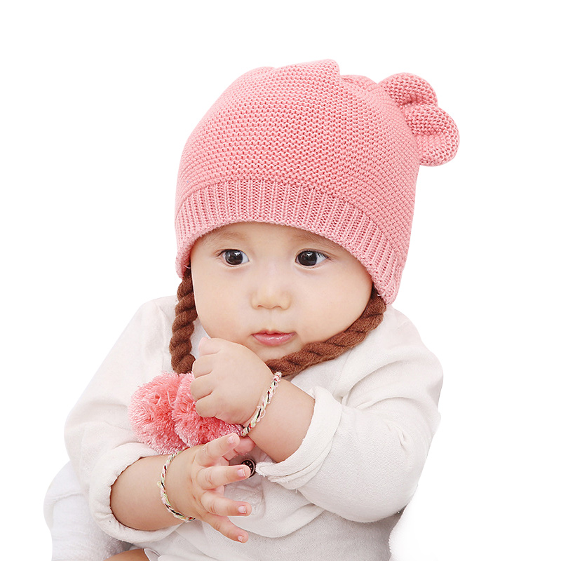 Braid Knit Baby Hat For Girls Cute Cotton Infant Hat With Pompom Photography Props Baby Girls Winter Beanie Hat With Ears New