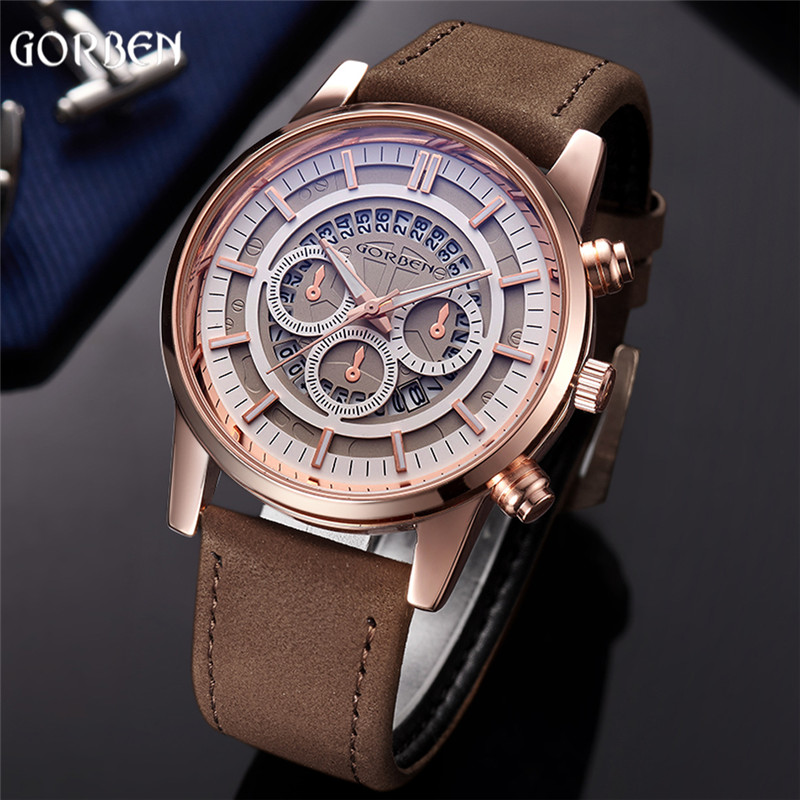 Top Brand GORBEN Watch Men Cool Leather Band Date Sport Quartz Mens Wrist Watch Fashion Black Waterproof Male relogio masculino gorben brand classical silver polishing quartz men pocket watch round roman number necklace relogio de bolso gift men watch
