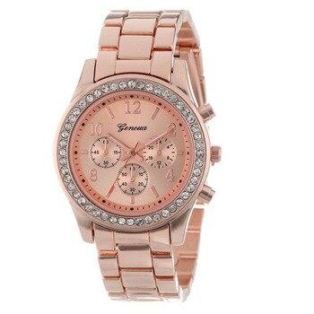 2018 New Fashion Faux Chronograph Plated Classic Geneva Quartz Ladies Watch Women Crystals Wristwatches Relogio Feminino дамски часовници розово злато
