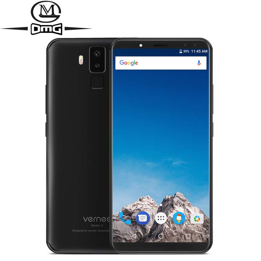 "Vernee X 18:9 screen 6200mAh Smartphone 6GB RAM 128GB ROM 6.0"" Octa-core Face ID Quad Cameras Back Fingerprint ID Mobile Phone"