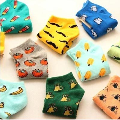 New print fruit also any fancy kawaii cute funny personality socket sock slippers for women cotton material 1 pair