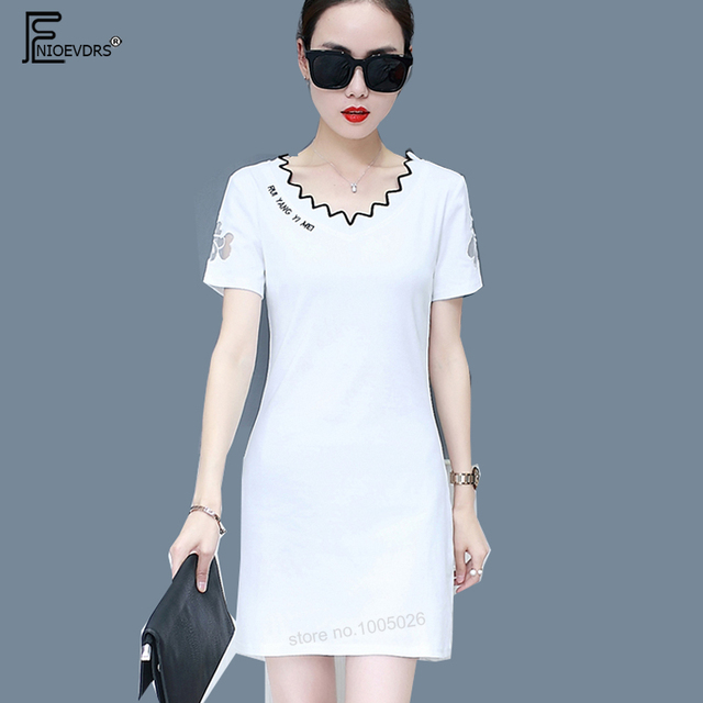 4 Colors Casual Dresses New Hot Women 2018 Design Short Sleeve Summer Cute  Sweet Letter White 65f64fa97418