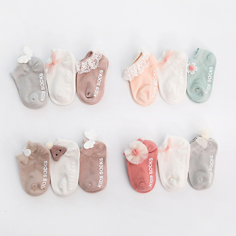 3Pairs/lot Newborn Baby Socks Cotton Anti Slip Baby Socks For Girls Infant Baby Ankle Socks Princess Style Spring Autumn