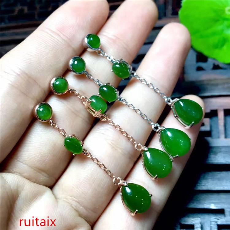 KJJEAXCMY bijoux fins 925 argent pur incrusté de jade hetian naturel medulla dame longue ovale oreille crochet en forme