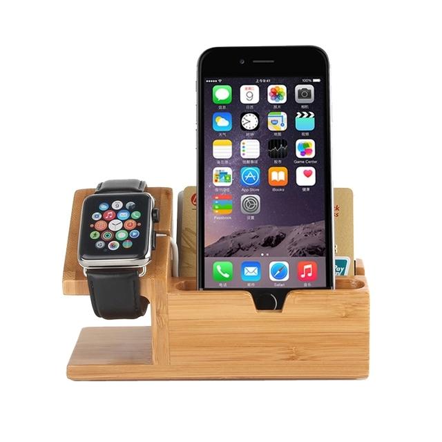 2 en 1 de madera de bambú titular de cargador con cable usb para apple reloj 38mm 42mm/iphone 6 6 plus/5 5S 5c smartphone