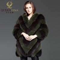 高級ファッション冬厚いキツネの毛皮のコート女性リアルファーロングジャケット冬生き抜くフォックス毛皮のコート女性エレガントな高貴な毛皮のコート