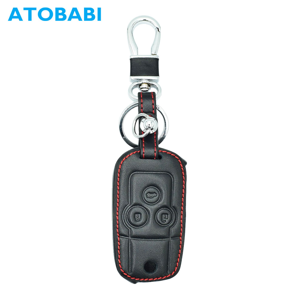 ATOBABI Genuine Leather Flip Car Key Case Keychain For