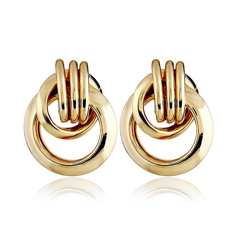Alloy ZA Unique Gold Round Earrings Geometric Statement Drop Earrings for Women Party Wedding Big Ladies Fashion Jewelry Bijoux