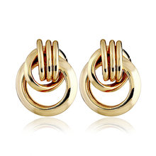 Alloy ZA Unique Gold Round Earrings Geometric Statement Drop Earrings for Women Party Wedding Big Ladies Fashion Jewelry Bijoux(China)