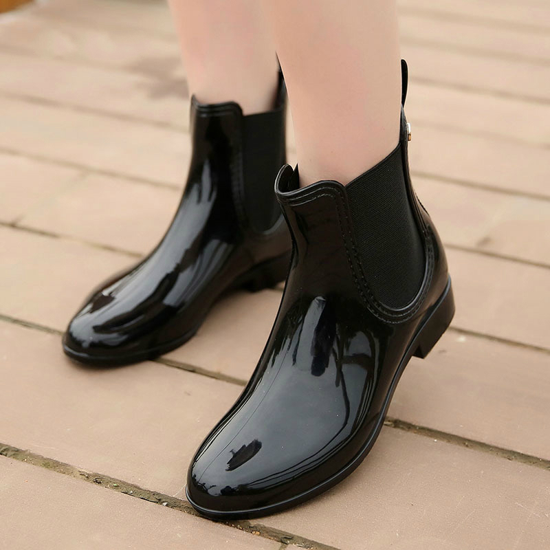 Image 2 - wenjie brother Women Fashion PVC Soft Elastic Band Rainboots Short Ankle Flat Heels Rain Boots Waterproof Water Shoes-in Ankle Boots from Shoes