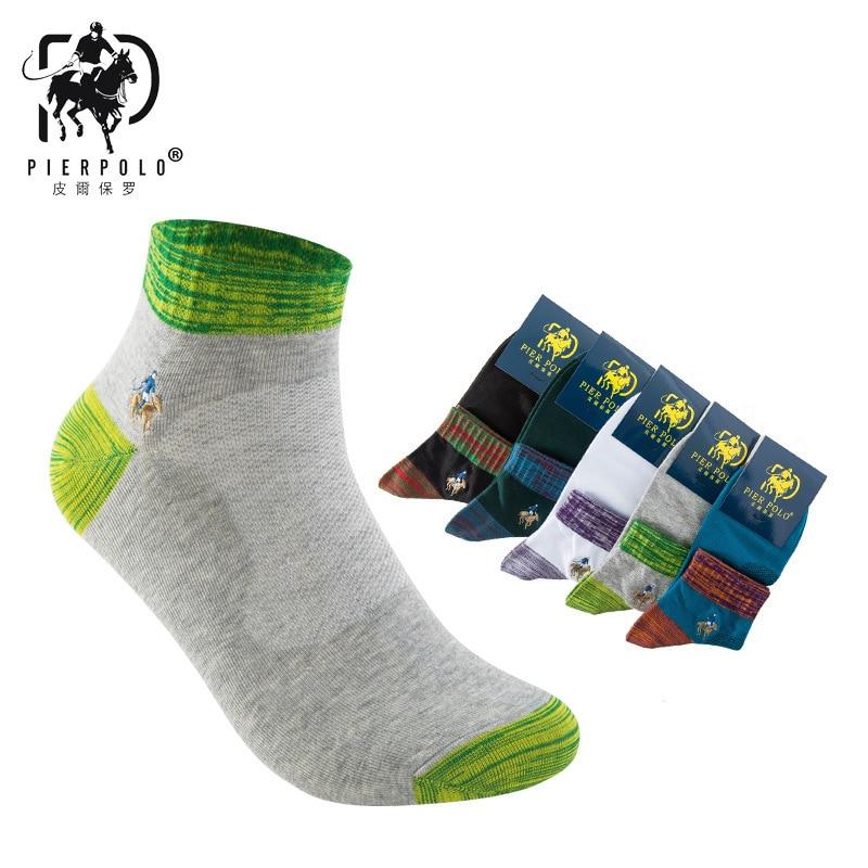 PIER POLO socks 5 Pairs New embroidered men socks Color business mens pure cotton polo socks Meias Harajuku Happy Hemp Socks