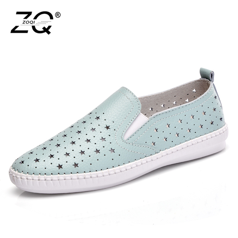 ZOQI Genuine Leather Women Shoes 2018 Spring Fashion Casual Flat Shoes Non-Slip Outdoor Shoes Flat Shoes Women zoqi shoes woman candy colors genuine leather women casual shoes 2018fashion breathable slip on peas massage flat shoes size 44