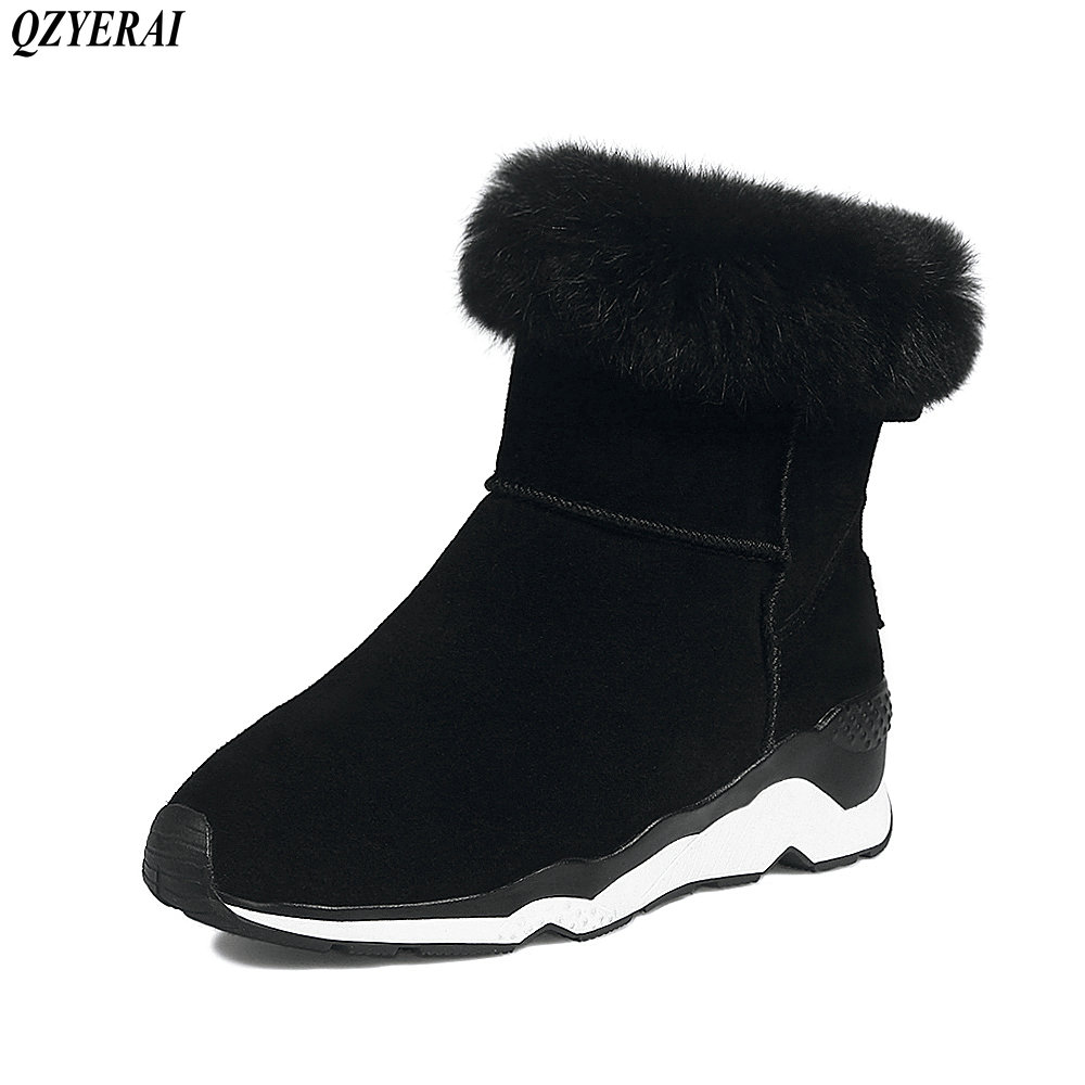 QZYERAI 2018 Autumn/winter new products real leather snow boots cowskin ankle boots and boots Snow boots size 34-40 snow boots free delivery of autumn and winter high quality 100